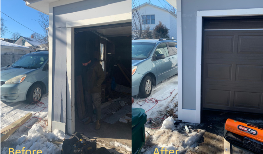 garage door panels before and after repair
